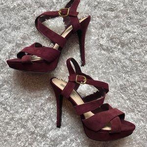 Steve Madden Suede Heels Sandals Plum Shoes Sz 10